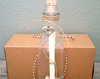 MOTHER'S DAY Message in a Bottle + Gift Box, Tied w Baker's Twine or Jute, Classic Tall Bottle, Special Unique Gift for Mom Under 20 Dollars