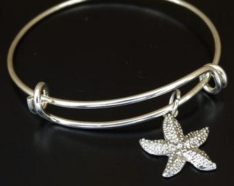 Starfish Bangle Bracelet, Adjustable Expandable Bangle Bracelet, Starfish Charm, Starfish Pendant, Starfish Jewelry, Star Fish Bracelet