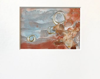 Abstract Plaster Painting in Muted Blue, Copper, Gold and Cream with Acid-Free White Mat - Original Acrylic Art on Panel with Mat