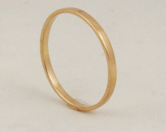 Thin 1.5mm x .75mm Stacking Gold Ring / Flat Edge / Delicate Gold Wedding Band / Solid 14k 18k 22k
