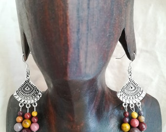 "Silver 925 ""Holi"" Mookaite gemstone earrings (1) Ti Memento"