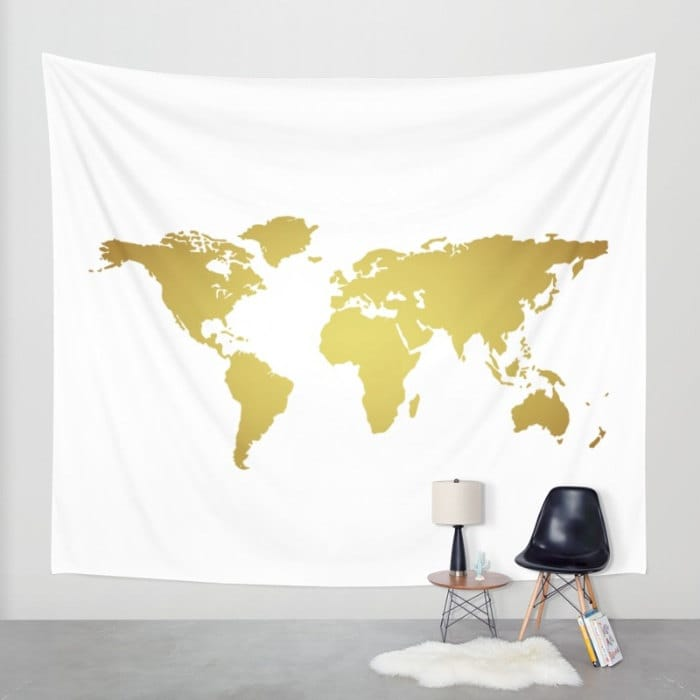 Amazing World Map Wall Decor Festooning - Wall Art Design ...