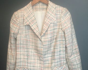 Vintage, Silk, Blazer, Woman's Small, green and pink