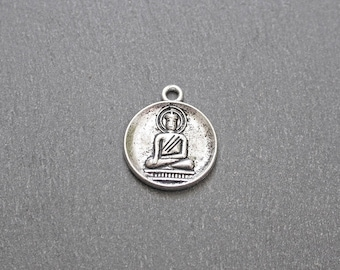 2 medallions Buddha silver spirit vintage 18mm