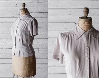 40s Mode De Paris Silk Top - Gray Pleated Button Down Blouse - Haute Couture Shirt - Medium Large