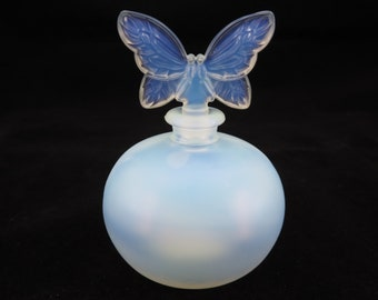 Vintage French Perfume Bottle - Opalescent Glass with Butterfly Stopper, Chamart France