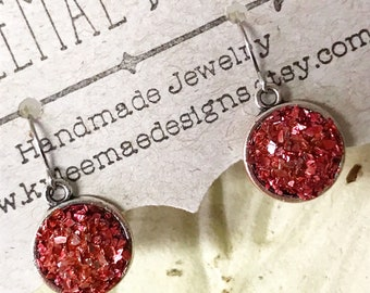 Red Sparkle Drop Earrings, Evening Earrings, Druzy Look Earrings, Crushed Glass Earrings, Red Glass Earrings