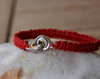 woven with handcuff clasp leather bracelet