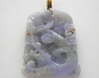 Vintage Hand Carved Natural Lavender Jade Pendant 14K