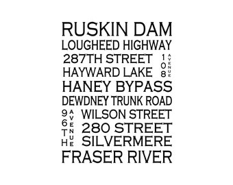 Ruskin B.C - Love This Place Street Name Art Print on Paper - Customize With Your Street - Home Decor - Maple Ridge Mission TheJitterbugShop