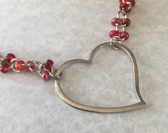 Heart necklace, red bead necklace, chain necklace, red necklace, beaded necklace, necklace red, valentine's day necklace