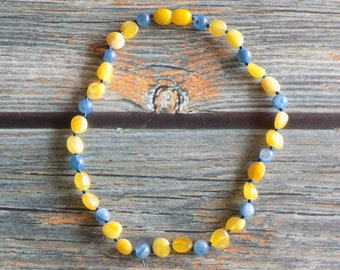 """12"""" Butter Baltic Amber and Kyanite Necklace Knotted on Silk Teething Necklace Natural Pain Relief, Infused with Intention"""