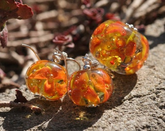 Jewelry Sets, Pendant + Earrings Lampwork and silver,yellow orange flowers, Lampwork, Lampwork pendant, Earrings Lampwork, Earrings flowers
