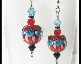 2420, Red and turquoise earrings, red earrings, turquoise earrings, circus earrings, circus jewelry, lampwork earrings, 2420, lampwork beads