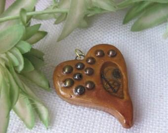 Steampunk Faux Wood Heart Pendant