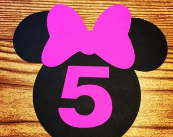 Minnie Mouse Cut Outs with Bows & Birthday Number -AGE 5 (Various Sizes and Colors Available)