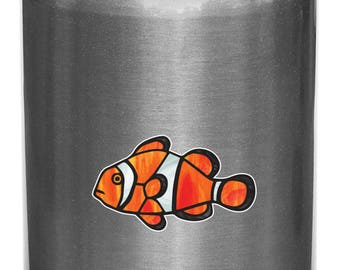 """CLR:WB - Tropical Fish - Clownfish - Clown Fish - Stained Glass Style Vinyl Water Bottle Decal - © 2016 YYDCo. (SM 2.5""""w x 1.5""""h)"""