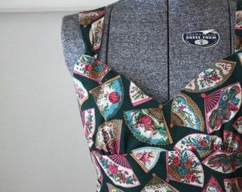 SALE // vintage ROCOCO FANS 50s dress size M