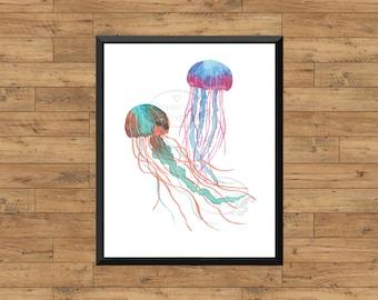 Baby Ocean Theme Nursery Wall Art JellyfishThe Ocean Print Digital Printable Whale Nautical Watercolor Print Marine Under the Sea PCOFNC