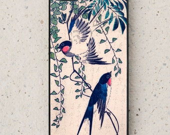 iPhone Cover(all models) - Swallows - Japanese  Woodcut - smartphone - mobile - Samsung Galaxy,  & Other phone models