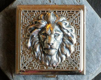 Lion compact mirror, silver compact mirror, square mirror, leo mirror, animal mirror, bridesmaid gift, holiday gift idea, gift ideas for her
