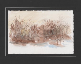 "ORIGINAL Watercolor Landscape Painting   ""Country Get Away""  with Floating Mat Mounting ... 11"" x 14"""