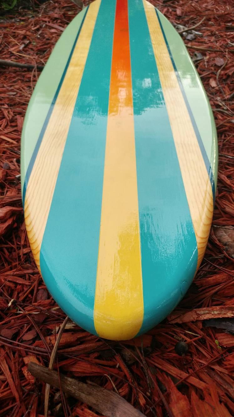 Modern tropical turquoise aqua wood surfboard wall art home decor ...