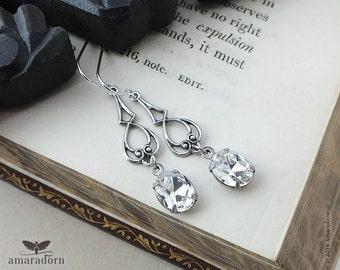 Art Nouveau Style Crystal Earrings, Vintage Style Bridal Earings, Antique Silver Filigree Earrings with Swarovski Crystals, Handmade UK