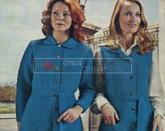 Lady's Jacket and Waistcoats DK 32-40in Ladywood 563 Vintage Knitting Pattern PDF instant download