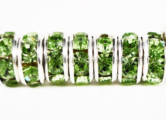Rhinestone Rondelle Beads 6mm Olivine Light Olive Green Silver Plated Metal Acrylic Rhinestone Crystal Spacer Beads for Jewelry 50pcs