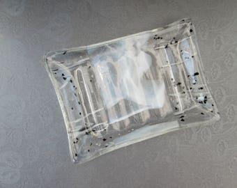 White black clear soap dish glass ridged dish handmade ribbed dish patterned glass soap holder iridescent glass dish spoon rest trinket dish