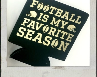 Black and Gold Football Is My Favorite Season Can Cozy- Gameday Can Cozy - Yellow and Black Can Cozy