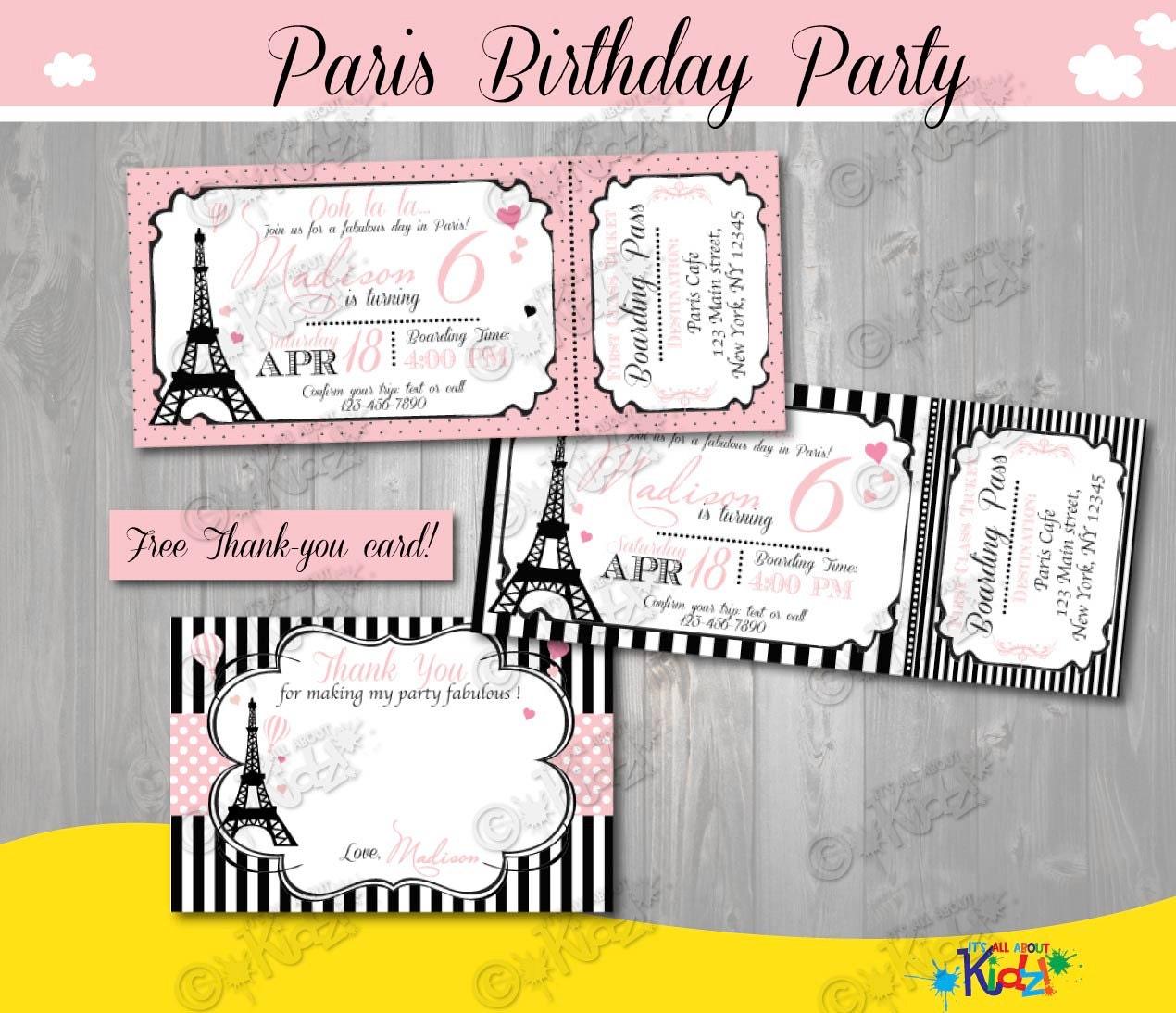 Paris Birthday invitationParis Birthday inviteprintable