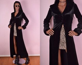 90s Black Velvet Faux Fur Trim Duster/ Medium/ 1990s/ Coat/ Jacket