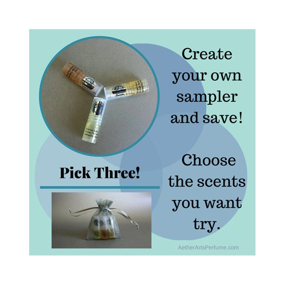 Pick Three!  2ml Roller Bottle Sample Pack.  Perfume to Go!  Mini Roller Bottles, Great for Gifts, Travel, and Trying out New Scents!