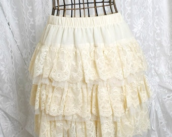 Romantic fall cream beige tutu lace skirt pleated skirt chiffon victorian
