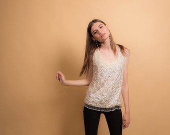 60s Beaded Shell Top / Vintage 60s Top / Hand Made Top / Beaded Disco Top Δ size: S/M