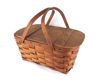 Vintage 1940's Oak & Ash Picnic Basket, Vintage Small Split Oak Weave Picnic Basket, Bent Wood Handle