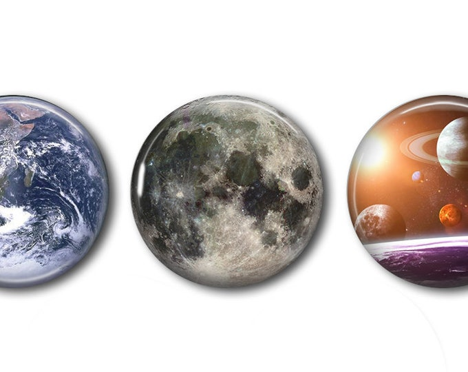 Earth Moon Galaxy Snaps - Pick One or Set - Compatible with Gingersnaps - Magnolia and Vine - Noosa 18-20mm Base - Handpressed Snaps