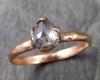 Fancy cut Salt and pepper Solitaire Diamond Engagement 14k Rose Gold Wedding Ring byAngeline 1101