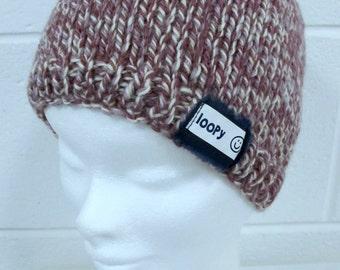 Pink and Cream Handknit Beanie Hat