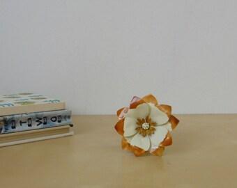Vintage Rust and Cream Enamel Flower Pin