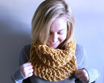 "Chunky knit infinity scarf / infinity cowl / Color - Mustard/ ""Narragansett"" cowl / custom colors available"