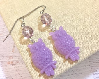 Lavender Purple Owl Novelty Dangle Earrings with Glass Bead and Surgical Steel Ear Wires