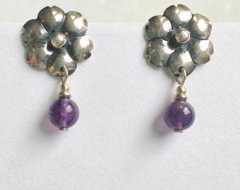 vintage sterling flower posts with amethyst drops