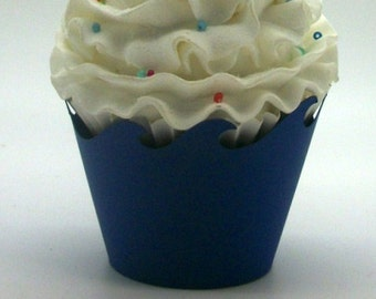 NAVY BLUE Nautical Wave Cupcake Wrappers...Fully Assembled...Set of 12, Mermaid Party, Sea Creatures, Under the Sea, Surf, Shark Party
