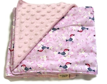 Cover birds - soft plaid cotton and pink minky baby blanket