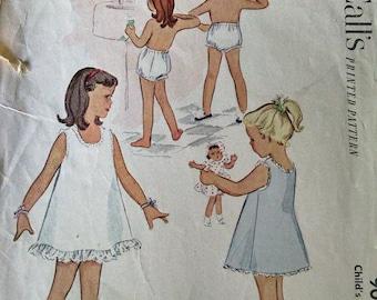 Vintage Sewing Pattern Mccalls girls Size 6 slip and panties
