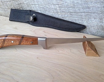 Fillet knife with sheath. Mahogany and walnut handle