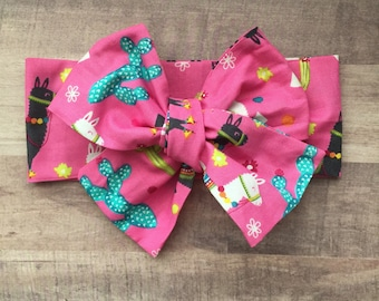 Wrap Headband - Hair Wrap - Headwrap - One Size - Newborn-Toddler-Child-Adult - Hot Pink - Cacti - Llama - Desert